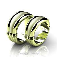 Caravaggio Classic 18K Green Gold Wedding Ring Set R2001S-18KGGS