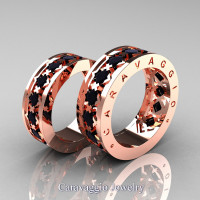 Caravaggio Modern 14K Rose Gold Princess Black Diamond Wedding Band Set R313S-14KRGBD