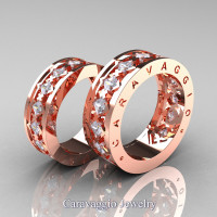 Caravaggio Modern 14K Rose Gold Princess White Sapphire Wedding Band Set R313S-14KRGWS