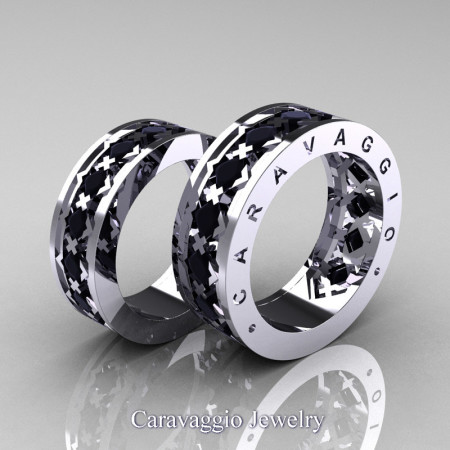 Caravaggio-Modern-14K-White-Gold-Princess-Black-Diamond-Wedding-Band-Set-R313S-14KWGBD-P