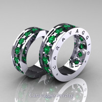Caravaggio Modern 14K White Gold Princess Emerald Wedding Band Set R313S-14KWGEM