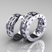 Caravaggio Modern 14K White Gold Princess White Sapphire Wedding Band Set R313S-14KWGWS