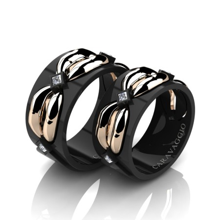 Caravaggio-Romance-14K-Black-and-Rose-Gold-Princess-Diamond-Wedding-Ring-Set-R683S-14KBRGD2-P