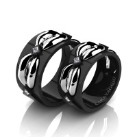 Caravaggio Romance 14K Black and White Gold Princess Diamond Wedding Ring Set R683S-14KBWGD