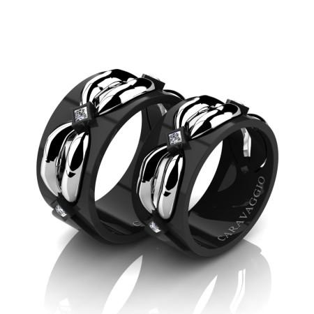 Caravaggio-Romance-14K-Black-and-White-Gold-Princess-Diamond-Wedding-Ring-Set-R683S-14KBWGD2-P