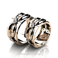 Caravaggio Romance 14K Rose Gold Princess Diamond Wedding Ring Set R683S-14KRGD
