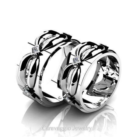 Caravaggio-Romance-14K-White-Gold-Princess-Diamond-Wedding-Ring-Set-R683S-14KWGD2-P