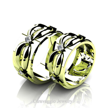 Caravaggio-Romance-18K-Green-Gold-Princess-Diamond-Wedding-Ring-Set-R683S-18KGGD2-P
