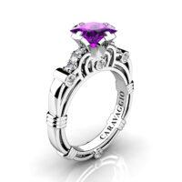 Art Masters Caravaggio 950 Platinum 1.25 Ct Princess Amethyst Diamond Engagement Ring R623P-PLATDAM
