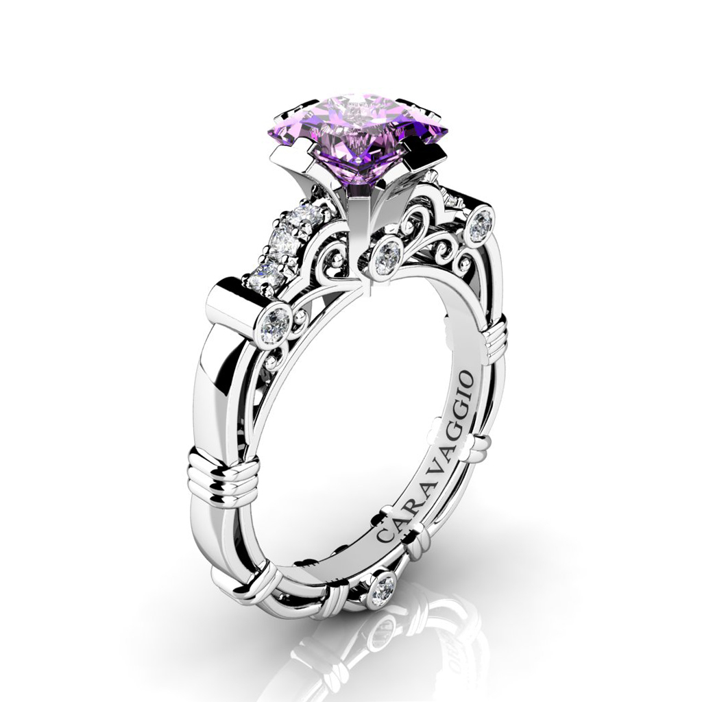 diamond in amethyst ring rings engagement interwoven brilliant four platinum pave round single kiss prong set pre purple stone enr a gold white strand