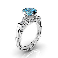 Art Masters Caravaggio 950 Platinum 1.25 Ct Princess Blue Topaz Diamond Engagement Ring R623P-PLATDBT