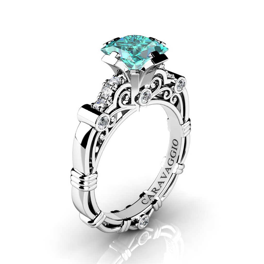 Blue Topaz Engagement Ring Platinum