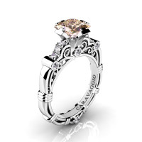 Art Masters Caravaggio 950 Platinum 1.25 Ct Princess Champagne and White Diamond Engagement Ring R623P-PLATDCHD