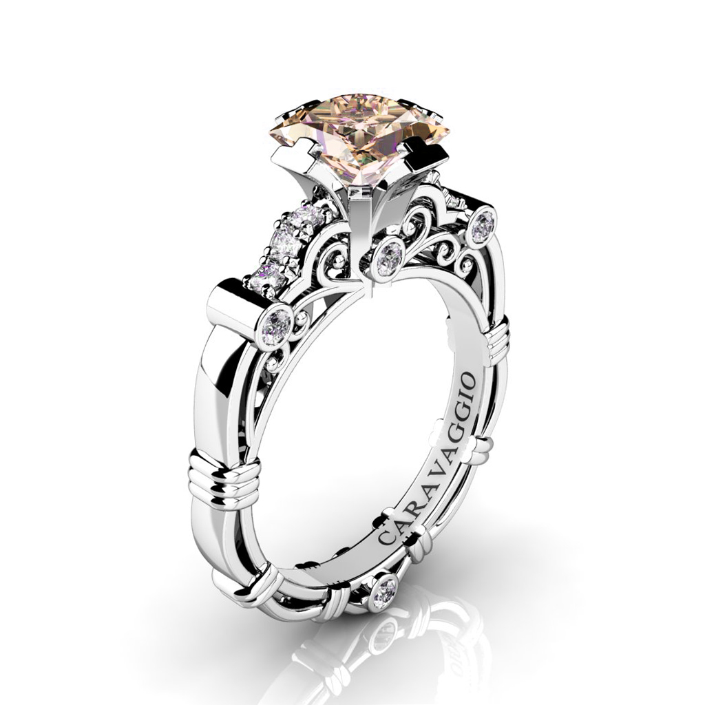 a016d3f14bb42 Art Masters Caravaggio 950 Platinum 1.25 Ct Princess Champagne and White  Diamond Engagement Ring R623P-PLATDCHD