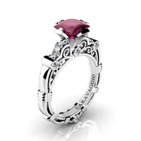 Art Masters Caravaggio 950 Platinum 1.25 Ct Princess Deep Red Ruby Diamond Engagement Ring R623P-PLATDDR