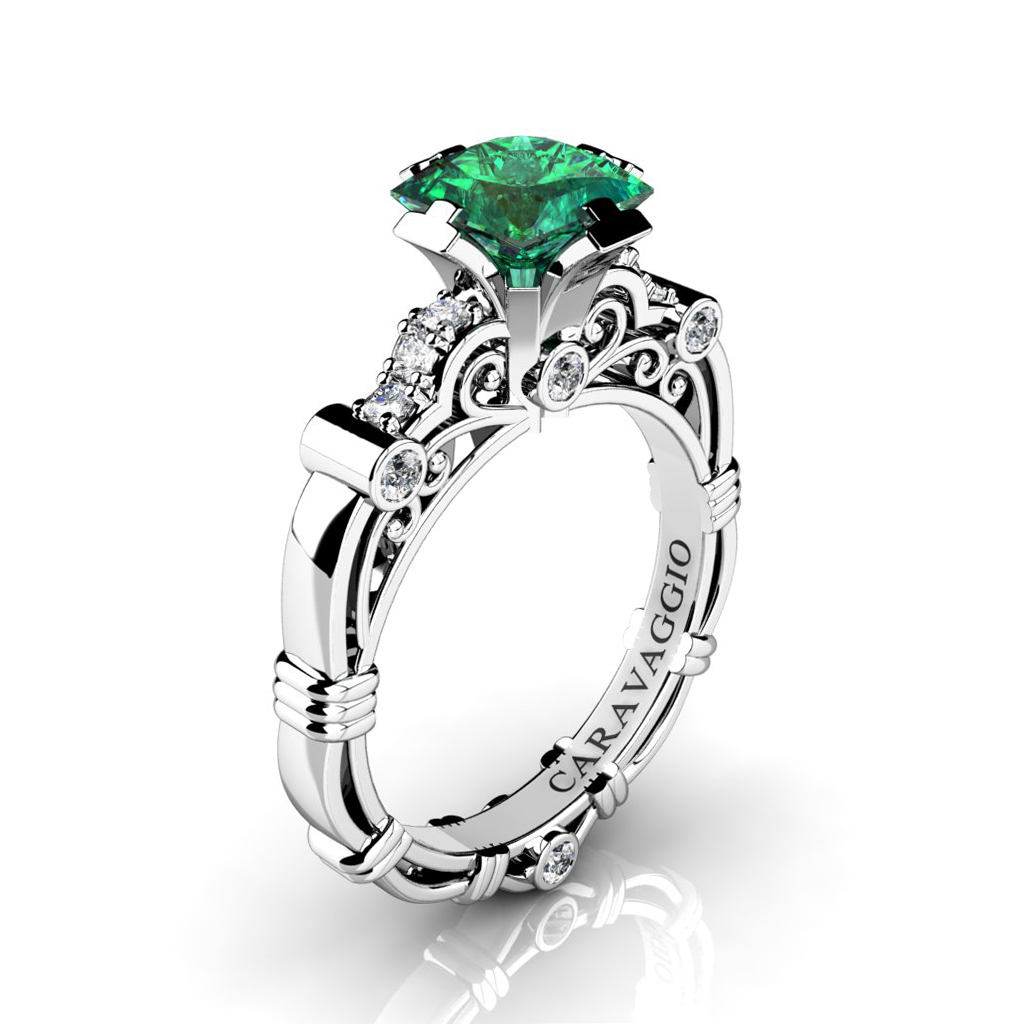 p caravaggio emerald engagement platinum jewelry princess ring wedding platdem ct rings art masters product diamond