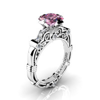 Art Masters Caravaggio 950 Platinum 1.25 Ct Princess Light Pink Sapphire Diamond Engagement Ring R623P-PLATDLPS