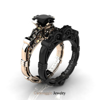 Caravaggio 14K Rose and Black Gold 1.25 Ct Princess Black Diamond Engagement Ring Wedding Band Set R623PS-14KRBGBD