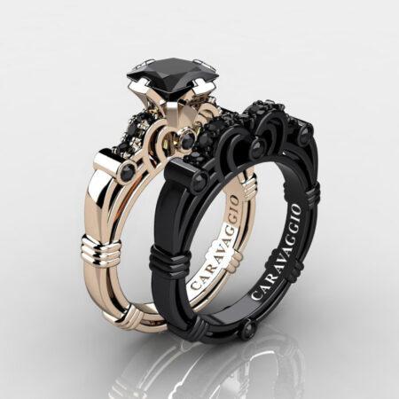 Caravagio-14K-Rose-and-Black-Gold-1-25-Carat-Princess-Black-Diamond-Engagement-Ring-Wedding-Band-Set-R623PS-14KRBGBD-P