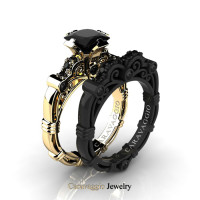 Caravaggio 14K Yellow and Black Gold 1.25 Ct Princess Black Diamond Engagement Ring Wedding Band Set R623PS-14KYBGBD