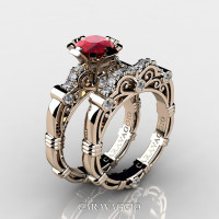 Art Masters Caravaggio 14K Rose Gold 1.0 Ct Ruby Diamond Engagement Ring Wedding Band Set R623S-14KRGDR