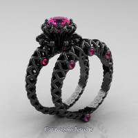 Caravaggio Lace 14K Black Gold 1.0 Ct Pink Sapphire Engagement Ring Wedding Band Set R634S-14KBGPS