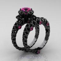 Caravaggio Lace 14K Black Gold 1.0 Ct Pink Sapphire Engagement Ring Wedding Band Set R634S-14KBGPS