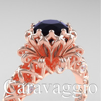 Caravaggio Lace 14K Rose Gold 1.0 Ct Black and White Diamond Engagement Ring R634-14KRGDBD