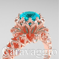 Caravaggio Lace 14K Rose Gold 1.0 Ct Blue and White Diamond Engagement Ring R634-14KRGDBLD