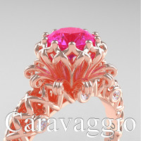 Caravaggio Lace 14K Rose Gold 1.0 Ct Pink Sapphire Diamond Engagement Ring R634-14KRGDPS