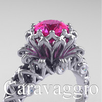 Caravaggio Lace 14K White Gold 1.0 Ct Pink Sapphire Diamond Engagement Ring R634-14KWGDPS