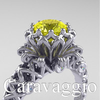 Caravaggio Lace 14K White Gold 1.0 Ct Yellow Sapphire Diamond Engagement Ring R634-14KWGDYS