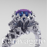 Caravaggio Lace 14K White Gold 1.0 Ct Alexandrite Diamond Engagement Ring R634-14KWGDAL