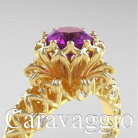 Caravaggio Lace 14K Yellow Gold 1.0 Ct Amethyst Diamond Engagement Ring R634-14KYGDAM