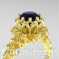 Caravaggio Lace 14K Yellow Gold 1.0 Ct Black and White Diamond Engagement Ring R634-14KYGDBD