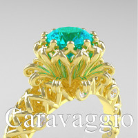 Caravaggio Lace 14K Yellow Gold 1.0 Ct Blue and White Diamond Engagement Ring R634-14KYGDBLD