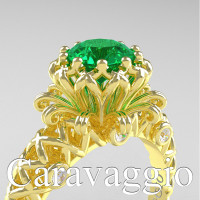 Caravaggio Lace 14K Yellow Gold 1.0 Ct Emerald Diamond Engagement Ring R634-14KYGDEM