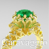 Caravaggio Lace 14K Yellow Gold 1.0 Ct Emerald Yellow Sapphire Engagement Ring R634-14KYGYSEM