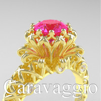 Caravaggio Lace 14K Yellow Gold 1.0 Ct Pink Sapphire Diamond Engagement Ring R634-14KYGDPS
