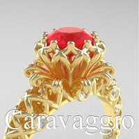 Caravaggio Lace 14K Yellow Gold 1.0 Ct Ruby Diamond Engagement Ring R634-14KYGDR