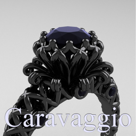Caravaggio-Renaissance-14K-Black-Gold-1-0-Carat-Black-Diamond-Lace-Engagement-Ring-R634-14KBGBD-PXL