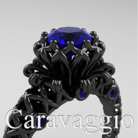Caravaggio Lace 14K Black Gold 1.0 Ct Blue Sapphire Engagement Ring R634-14KBGBS