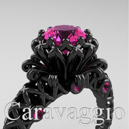 Caravaggio-Renaissance-14K-Black-Gold-1-0-Carat-Pink-Sapphire-Lace-Engagement-Ring-R634-14KBGPS-PXL