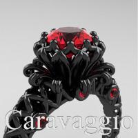 Caravaggio Lace 14K Black Gold 1.0 Ct Ruby Engagement Ring R634-14KBGR
