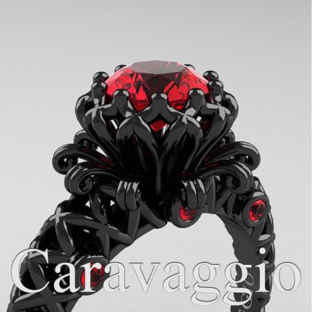Caravaggio-Renaissance-14K-Black-Gold-1-0-Carat-Ruby-Lace-Engagement-Ring-R634-14KBGR-PXL