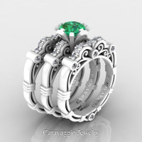 Art Masters Caravaggio Trio 14K Ceramic White Gold 1.0 Ct Emerald Diamond Engagement Ring Wedding Band Set R623S3-14KCWGDEM