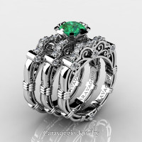 Art Masters Caravaggio Trio 14K White Gold 1.0 Ct Emerald Diamond Engagement Ring Wedding Band Set R623S3-14KWGDEM