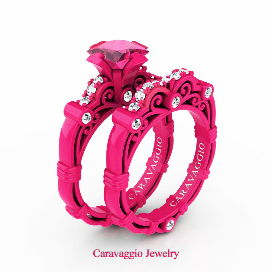 London Exclusive Caravaggio 14K Fuchsia Pink Gold 1.25 Ct Princess ...