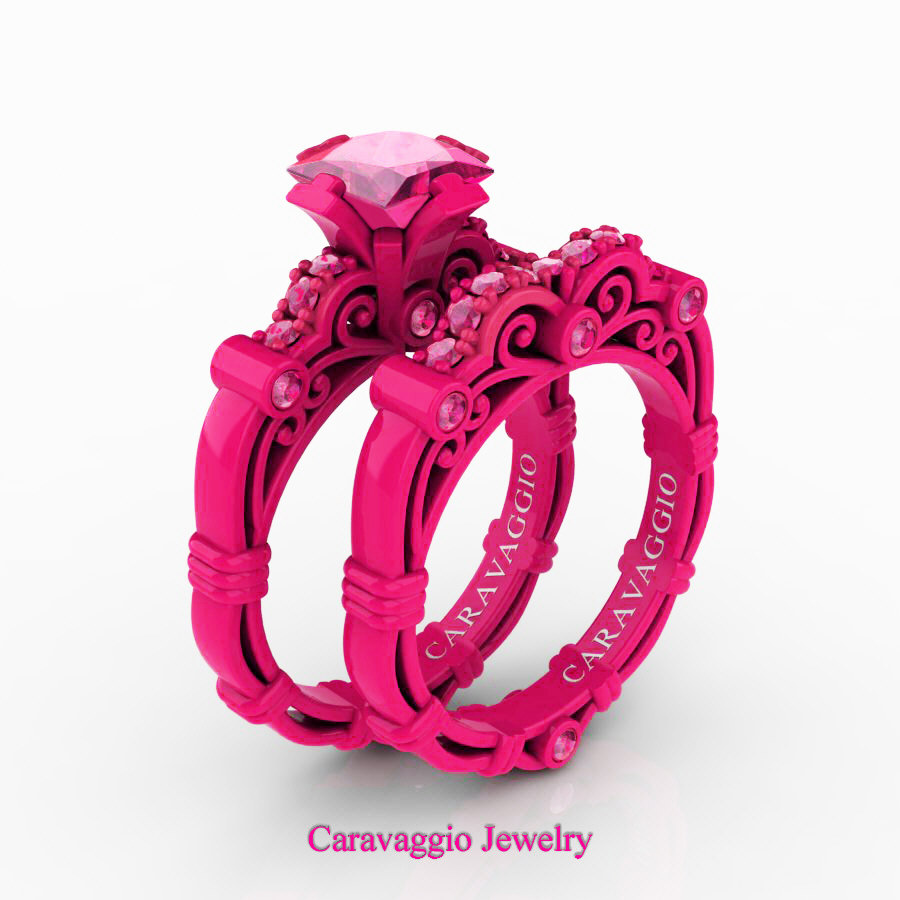 London Exclusive Caravaggio 14K Fuchsia Gold 1.25 Ct Princess Pink ...