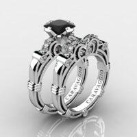 Art Masters Caravaggio 14K White Gold 1.25 Ct Princess Black Sapphire Diamond Engagement Ring Wedding Band Set R623PS-14KWGDBLS